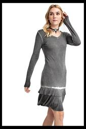 Vocal Black garment dyed knit dress with ruffle and long sleeves