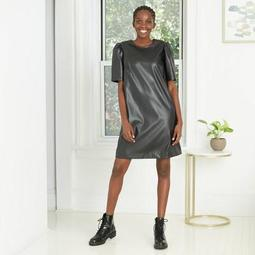 Women's Short Sleeve Faux Leather Dress - A New Day™