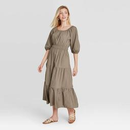 Women's Puff Elbow Sleeve Tiered Dress - A New Day™