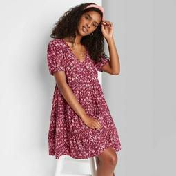 Women's Floral Print Short Sleeve Tiered Babydoll Dress - Wild Fable™