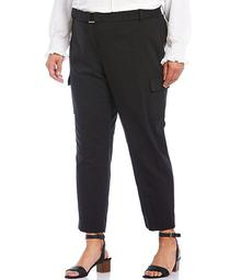 Plus Size Straight Leg Belted Pants