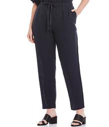 Plus Size Puckered Organic Linen Tapered Ankle Pant
