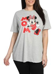 Disney Minnie Mouse Mom T-Shirt Gray Short Sleeve Red (Women's Plus)