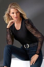 Scoop-Neck Lace Puff-Sleeve Top