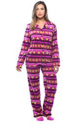 #followme Printed Microfleece Button Front PJ Pant Set with Socks (Pink - Heart Snowflake Fairisle, 1X)