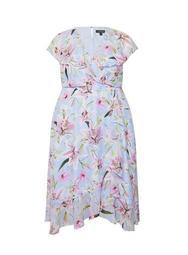 **Billie & Blossom Curve Blue Lily Floral Print Ruffle Midi Dress