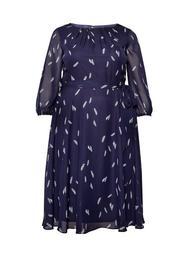 **Billie & Blossom Curve Navy Feather Print Midi Dress