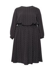 **Billie & Blossom Curve Black Spot Print Mono Midi Dress
