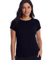 Black Knit Logo Lounge Top