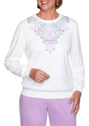 Plus Size Long Weekend Embroidered Yoke Top