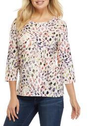 Plus Size Classics 3/4 Sleeve Abstract Animal Print Top