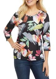Plus Size Classics 3/4 Sleeve Tropical Floral Print Top