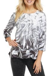 Plus Size Classics 3/4 Sleeve Ombre Floral Swirl Print Top