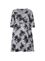 **DP Curve Grey Leaf Print Brushed Dress