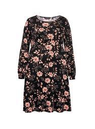 **DP Curve Black Floral Print Empire Dress
