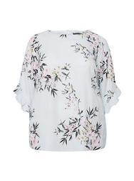 **Billie & Blossom Curve Grey Ruffle Floral Print Top