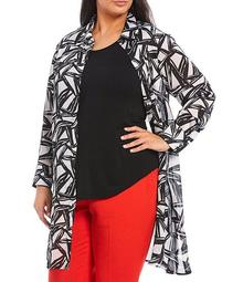 Plus Size Abstract Geo Printed Satin Oxford Shirt Topper