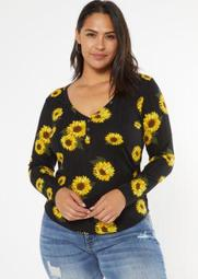 Plus Black Sunflower Print Super Soft Ribbed Snap Henley Top