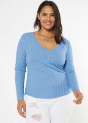 Plus Blue Super Soft Ribbed Snap Henley Top