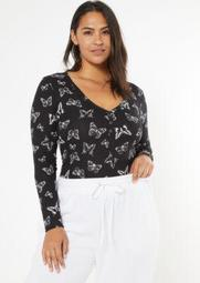 Plus Black Butterfly Print Super Soft Ribbed Snap Henley Top