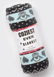 Black Penguin Faire Isle Plush Blanket