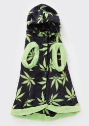 Black Weed Print Plush Pet Onesie