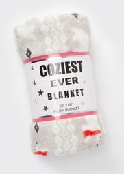 Taupe Polar Bear Print Plush Blanket