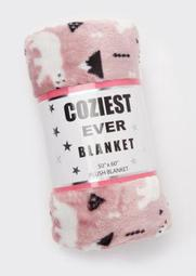 Pink Polar Bear Print Plush Blanket