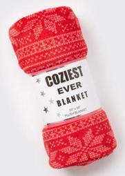 Red Faire Isle Plush Blanket