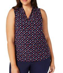 Women's Blouse Plus Polka Dot V Neck Jersey 0X