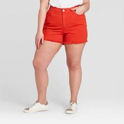 Women's Plus Size High-Rise Jean Shorts -Universal Thread™ Red
