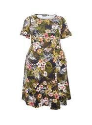 **DP Curve Multi Colour Tropical Print T-Shirt Dress