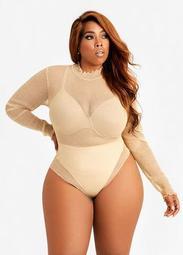 Mesh Mock Neck Bodysuit