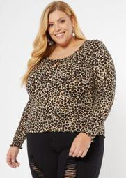 Plus Leopard Print Tie Front Ribbed Knit Top