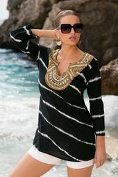 Tie-Dye Embellished Tunic Top