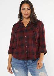 Plus Burgundy Plaid Hooded Snap Front Shirt