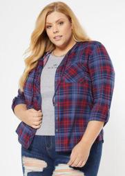 Plus Blue Plaid Hooded Snap Front Shirt