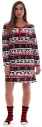 Just Love Womens Ultra-Soft Sleep Shirt Nightgown with Matching Fuzzy Socks (Reindeer Fairisle, 1X)