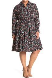 Long Sleeve Printed Pintuck Dress