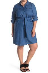 Chambray 3/4 Sleeve Shirt Dress