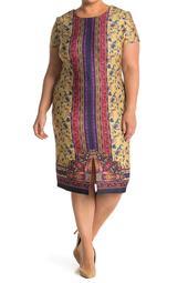 Paisley Stripe Floral Short Sleeve Midi Dress