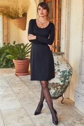 Proper Ponte Long Sleeve Fit-And-Flare Dress