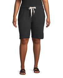 "NYL Women's Plus Size Athleisure 10"" Bermuda Shorts with Pocket"