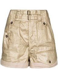 coated linen shorts