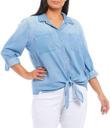 Plus Size Long Roll-Tab Sleeve Button Down Tie Front Lyocell Top