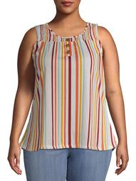French Laundry Women's Plus Size Smocked Button-Front Printed Tank