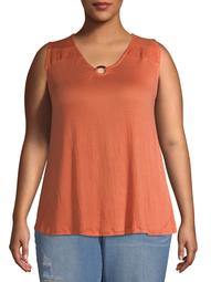 French Laundry Women's Plus Size Smocked Swing Tank with Ring Detail