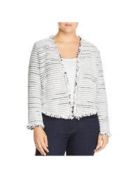 Nic + Zoe Womens Plus Metallic Fringe Cardigan Sweater