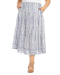 Tie-Dyed Striped Tiered Midi Skirt