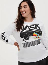 NASA White Fleece Crew Sweatshirt
